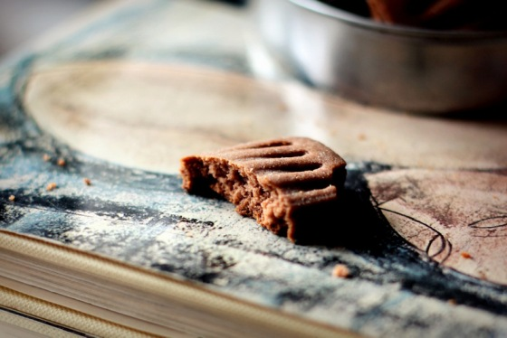 Biscotti frollini light al cacao e ouzo. Morso.